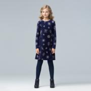 Платье из велюра для девочки,  цвет ночной синий